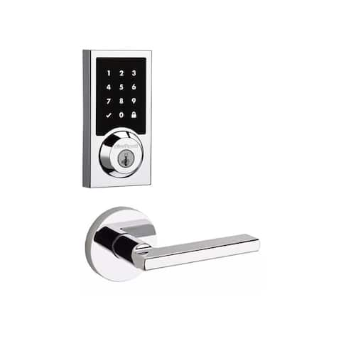 Kwikset 915CNT-HFLRDT-S SmartCode Touchscreen Electronic Deadbolt with Halifax Lever and Round Rosette -