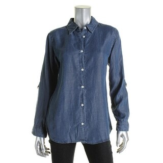 Allen Schwartz Womens Button-Down Top Denim Adjustable Sleeves