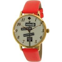 Kate Spade Women's Metro  Gold Leather Quartz Fashion Watch