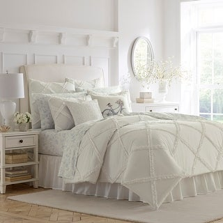 Link to Laura Ashley All Cotton_ Maeve White Ruffle White Comforter Set Similar Items in Comforter Sets