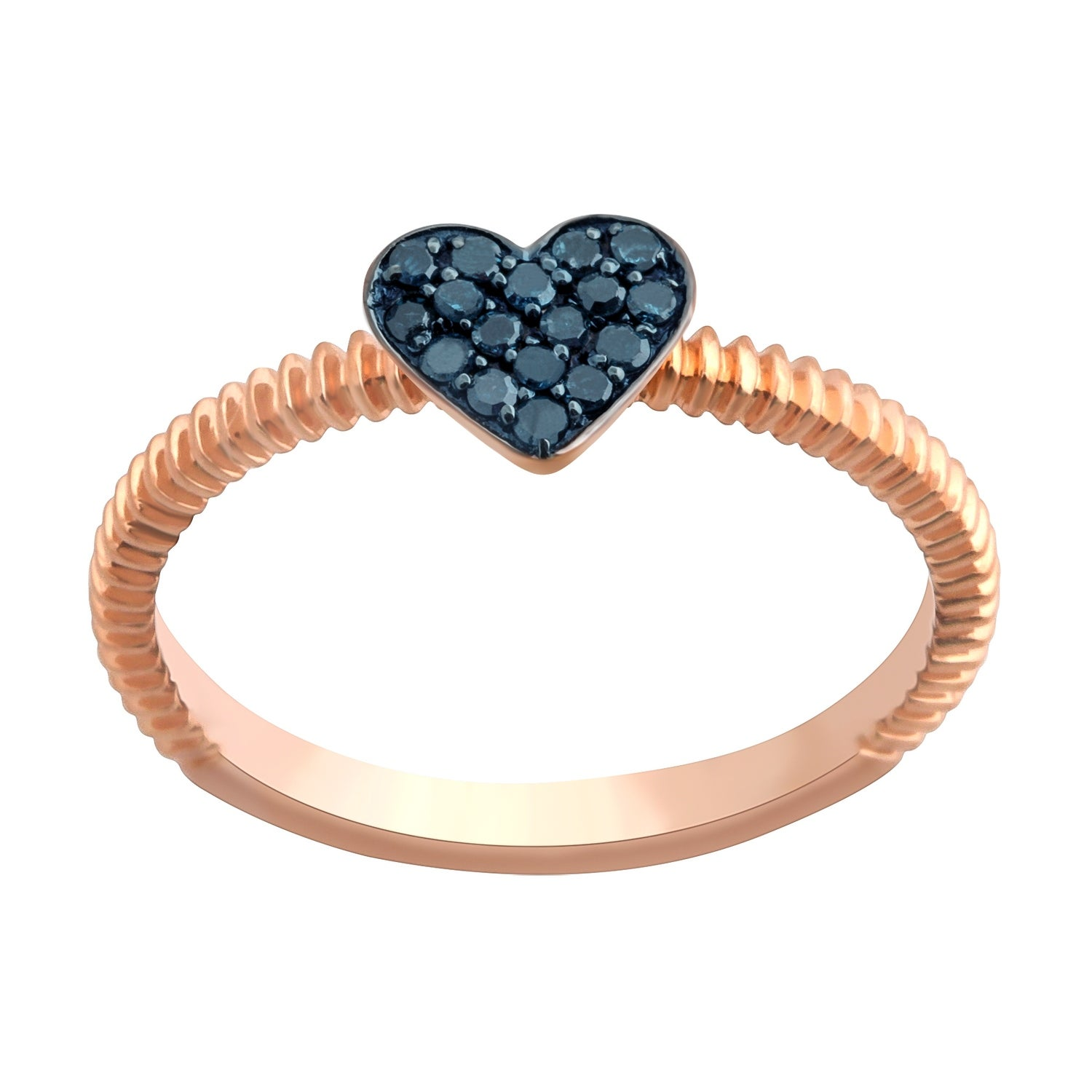 Prism Jewel Round Blue Diamond Heart Shaped Valentine Ring - Thumbnail 0