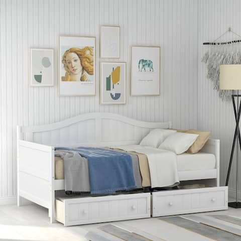 Twin Wooden Daybed with 2 Drawers