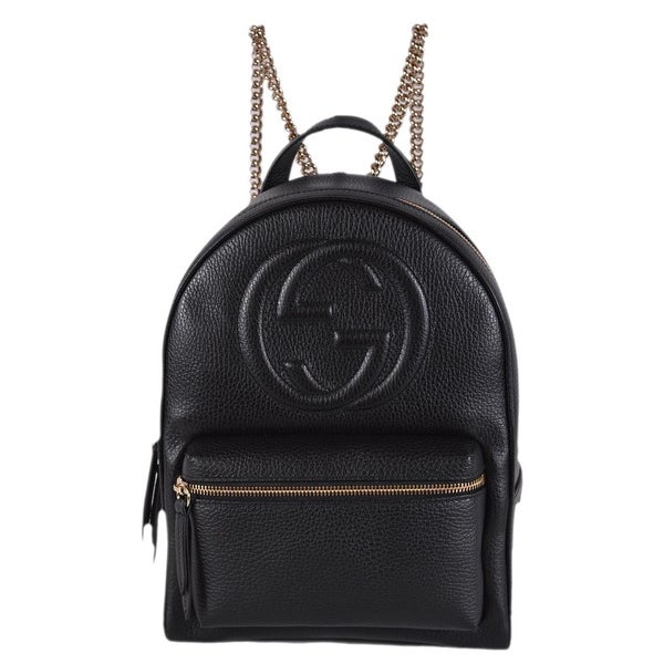 2adfd26ce31d Gucci Women  x27 s 536192 Black Leather SOHO Chain Strap Small Backpack ...