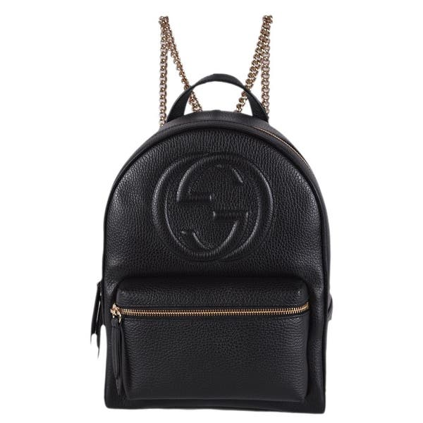 8859acd04 Gucci Women's 536192 Black Leather SOHO Chain Strap Small Backpack Purse Bag