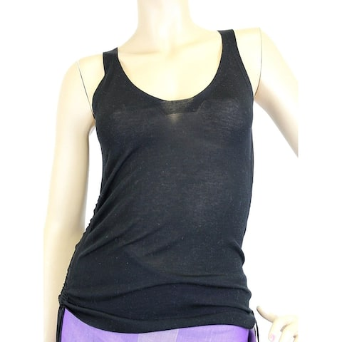 Gucci Women's Black Cotton Large Sleevless Side Tassels Tank Top 259932