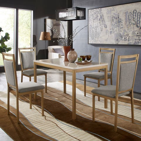 Darcy Faux Marble Top and Gold Dining Set by iNSPIRE Q Bold