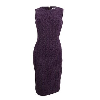 Calvin Klein Women's Printed Stretch Jacquard Sheath Dress - aubergine/black