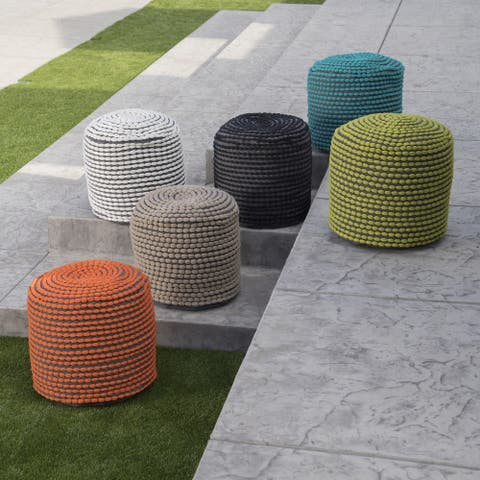 Conney Outdoor Handcrafted Modern Water-Resistant Fabric Cylinder Pouf Ottoman by Christopher Knight Home