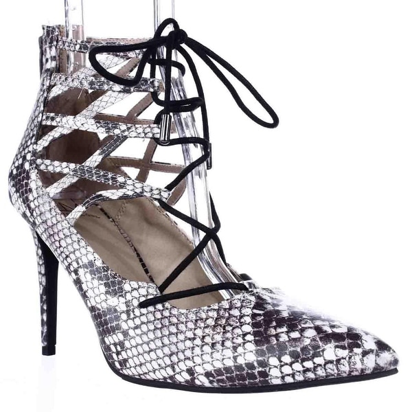 MG35 Pronto Lace Up Pointed Toe Heels, Black Snake