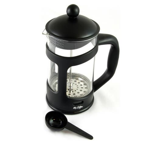 Mr. Coffee Brivio 28 Ounce Glass French Press Coffee Maker with Plastic Lid