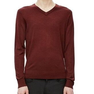 5b285c5e847 Shop Theory NEW Red Mens Size Medium M Ribbed Trim V-Neck Wool Sweater -  Free Shipping Today - Overstock.com - 20869863