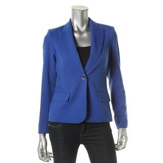 Calvin Klein Womens Petites One-Button Blazer Woven Peak Collar