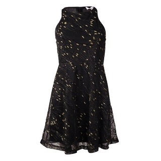BCBGeneration Women's Metallic Textured Mesh A-Line Dress - black/gold combo