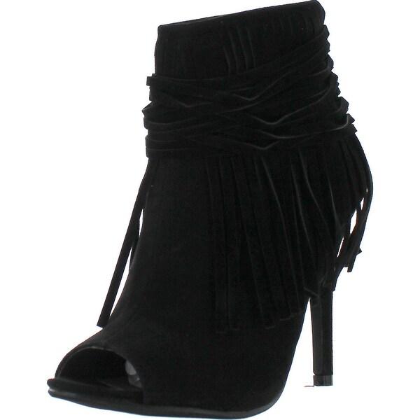 Adriana Hilda-23 Women's Peep Toe Fringe Accents Stlietto Heel Ankle Booties - Black