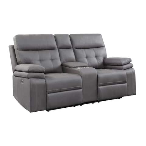 Dalal Power Double Reclining Love Seat with Center Console and Power Headrests, USB Port