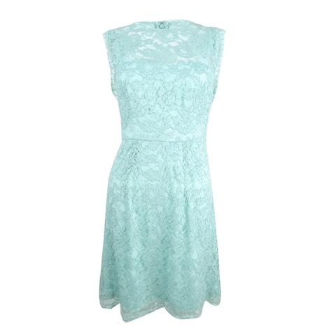 Betsey Johnson Women's Illusion Lace A-Line Dress - Seafoam