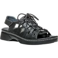 Propet Women's Ghillie Walker Slingback Sandal Black Full Grain Leather