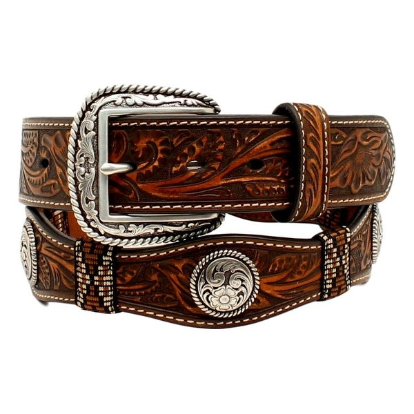 Ariat Western Belt Mens Scalloped Ribbon Concho Floral Brown