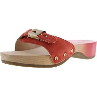 Dr. Scholl's Womens Original Suede Wooden Slide Sandals