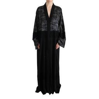 Dolce & Gabbana Dolce & Gabbana Black White Floral Silk Kaftan Dress - it40-s
