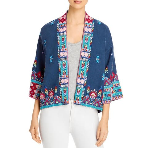 Johnny Was Womens Laurelle Kimono Cropped Embroidered - French Blue
