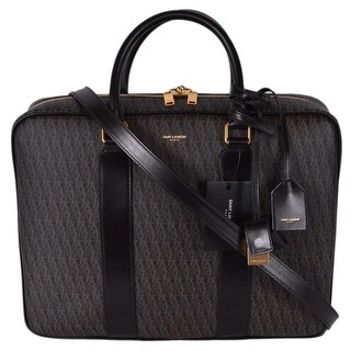 Saint Laurent YSL Men's Printed Canvas Leather Signature Toile Briefcase Bag - Brown