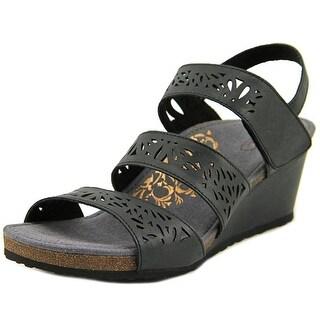 Aetrex Lexi Women Open Toe Leather Black Wedge Sandal