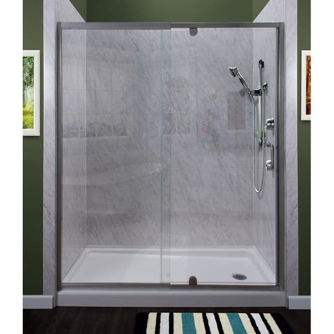 """Miseno MSDC4869 Purify 69"""" High x 48"""" Wide Semi-Framed Pivot Shower Door with Clea"""