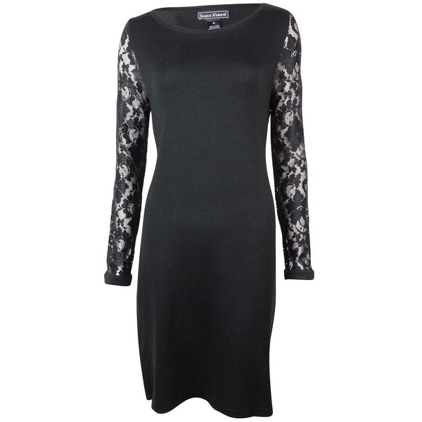 Jessica Howard Women's Lace Sleeves Boat Neck Knit Dress - Black