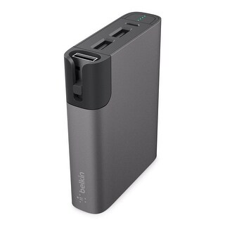Belkin MFi Certified MIXIT Metallic 6600 mAh Power Rockstar Battery Pack with Dual USB Ports and Cable Storage (Gray)