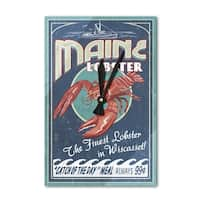 Wiscasset, ME - Lobster Vintage Sign - LP Artwork (Acrylic Wall Clock) - acrylic wall clock