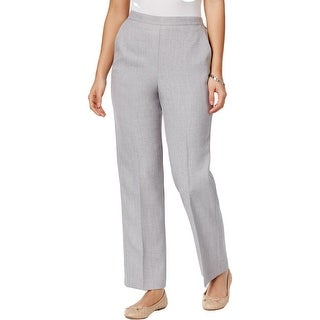 Alfred Dunner Womens Petites Rose Hill Straight Leg Pants Classic Fit Pull On