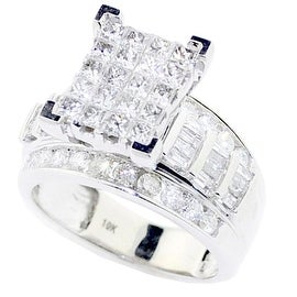 Princess Cut Diamond Wedding Ring 3 in 1 Engagement & Bands 10K White Gold Real 2cttw