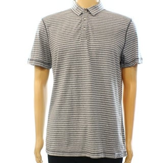 Calvin Klein Jeans NEW Gray Mens Size Large L Striped Polo Shirt