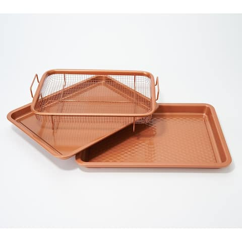 "Copper Chef Diamond 9""x13"" Cookie Sheet & Medium Crisper Tray"