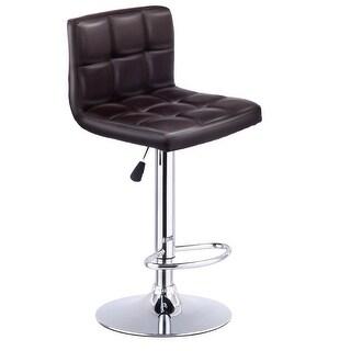 Costway 1 PC Bar Stool Swivel Adjustable PU Leather Barstools Bistro Pub Chair Brown