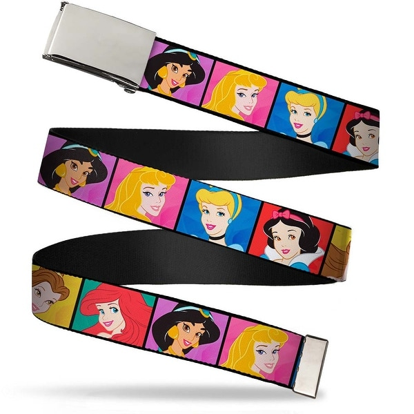 Blank Chrome Buckle Disney Princess Blocks Webbing Web Belt