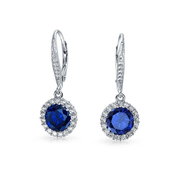 897518ae4 Shop Bling Jewelry Blue CZ Flower Crown Leverback Dangle Earrings 925 Sterling  Silver - Free Shipping On Orders Over $45 - Overstock - 17986029