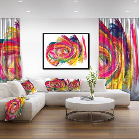 Designart 'Colorful Thick Strokes' Abstract Framed Canvas art print