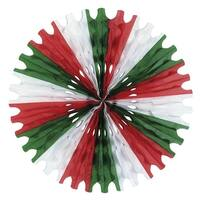 "Club Pack of 12 Red, Green and White Tissue Fan Hanging Decorations 25"" - Red"