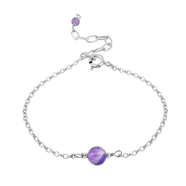 Handmade Simply Charming Purple Amethyst on a Sterling Silver Cable Chain Bracelet (Thailand). Opens flyout.