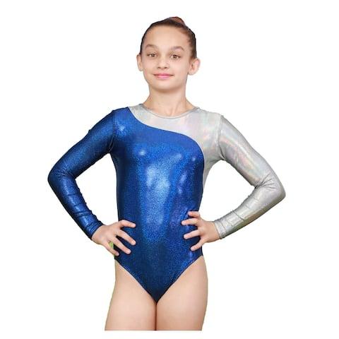 VEVA by Very Vary Girls Twilight Blue Mercury Mystique Gymnastics Leotard 12