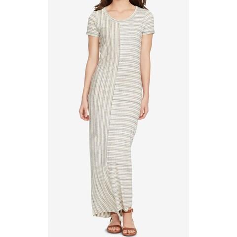 WILLIAM RAST Gray Womens Size Medium M Striped T-Shirt Maxi Dress