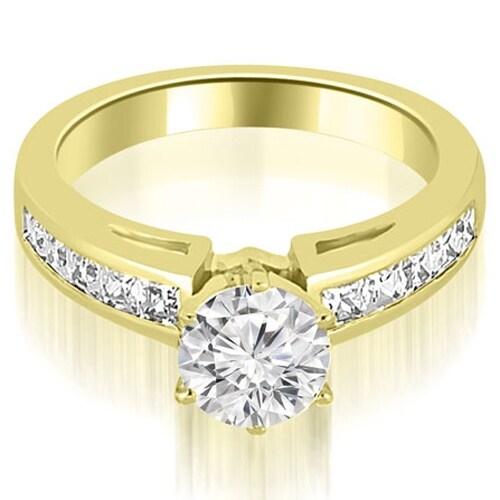 1.70 cttw. 14K Yellow Gold Channel Set Princess Cut Diamond Engagement Ring,HI,SI1-2
