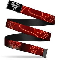 Superman Reverse Brushed Silver  Cam Neon Superman Logo Black Red Web Belt
