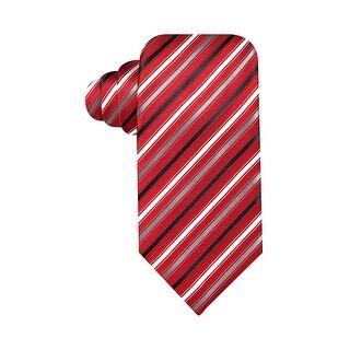 Geoffrey Beene Mens Hand Made Titanium Stripe Classic Necktie Red