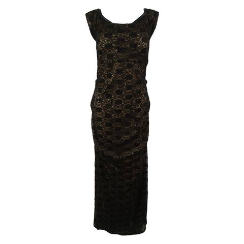 Alex Evenings Women's Off The Shoulder Sequined Lace Gown - Black - 12