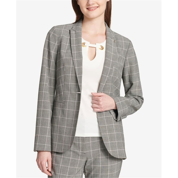 Tommy Hilfiger Womens Plaid One Button Blazer Jacket, Black, 10. Opens flyout.