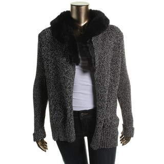 Vince Camuto Womens Juniors Faux Fur Open Front Cardigan Sweater - S