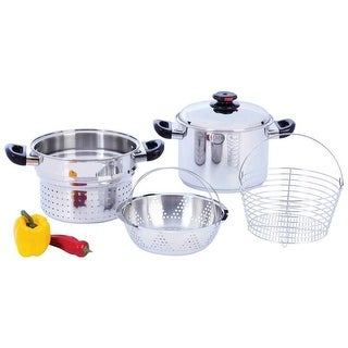 Steam Control 8qt T304 Stainless Steel Stockpot/Spaghetti Cooker with Deep Fry Basket & Steamer Inserts